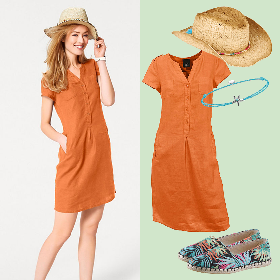Frau mit Sommerhut und Kleid
